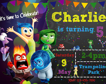 Inside Out Invitation, Inside Out Birthday Party, Disney Pixar Movie Inside Out Invitation
