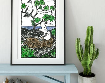 Abbott's Booby/Hand printed Linocut/ Hand coloured/ Australian art/ Birds/ Critically endangered/ Sacred space/ gift/ sacred tool