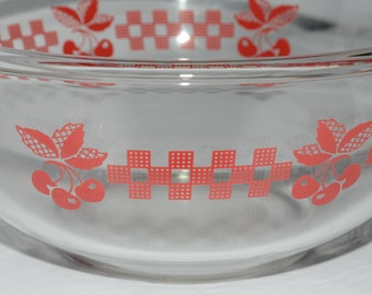 Vintage, PYREX, Red Cherry, Cherries, Bowl, 1.5 L, Clear Glass, Corning Pyrex Glass, pyrex mixing bowl, Nesting Bowls, Gingham, 323