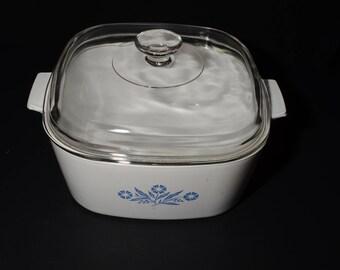 CORNING WARE, Vintage, Blue Cornflower 4 Quart, Saucepan, Casserole with Glass Lid, Covered Casserole Dish, Pyroceramic, Pyrex lid, 1960s