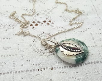 Moss Agate Sterling Silver Vintage Pendant Necklace/Free Shipping US/Handmade/Christmas Gift/Anniversary Present/Gift for Mom/Birthday Gift