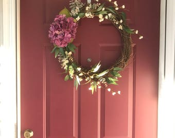 Purple Hydrangea Grapevine Wreath-Grapevine Wreath with Purple Hydrangea Silk Flowers, Greenery and White Flower Accents