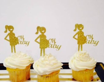 Baby Reveal / Mom-to-Be / Baby Shower / Gender Reveal ADDORABLE Cupcake Toppers in Glitter