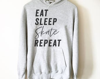 Eat Sleep Skate Repeat Hoodie - Roller Skates, Roller Skate Shirt, Skateboard Shirt, Skate Shirt, Skater Shirt, Ice Skating Shirt