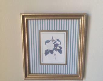 Lovely Vintage Rose Print Wood Frame White Blue Stripes Gold