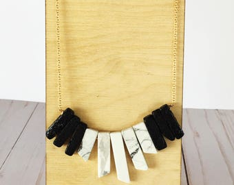 Howlite and Lava Rock Statement Necklace | Crystal Necklace | Statement Necklace