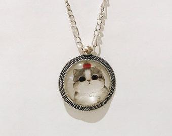 Silver Fat Cat Pendant / Cat Necklace / Cat Accessories