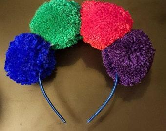 Multicoloured Pompom Headband