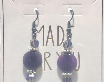 Purple/Crystal Stone Earrings