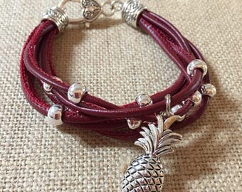 Pineapple charm multi strand leather bracelet