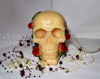 Large skull candle, scull, death, gothic candle, skull in roses, spiritual, magic, beautiful, halloween, home decor, skeleton, Spooky, pagan