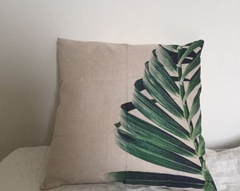 Green Tropical Palm Leaf Green Cushion Cover, Pillow Cover, Decorative Covers For Home