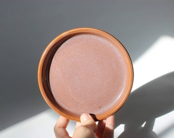 Small Burnt Orange Speckled Plate