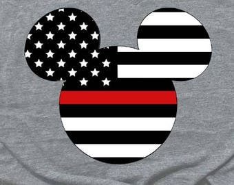 Thin Red Line Mickey Shirt. Firefighter mickey Shirt. Firefighter Disney shirt. Disney Shirt. fire shirt. Thin red Line shirt.