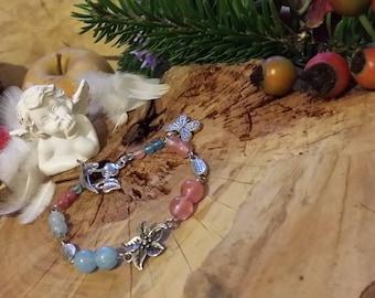 Bracelet Edelweiss  en quartz éponge, quartz cerise et métal argenté par angels signs