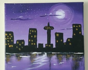 Purple cityscape Silhouette painting