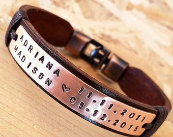 Personalized Gift for Men Gift for Birthday Coordinate Engraved Leather Bracelet Gift for Husband Man Leather