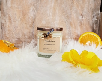 Orange Blossom Scented White Rustic Soy Paraffin Blend Candle