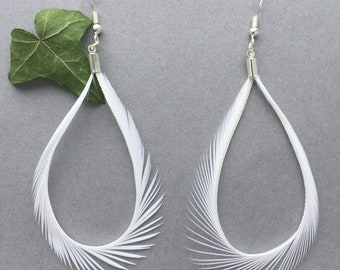 White Goose Feather Earrings