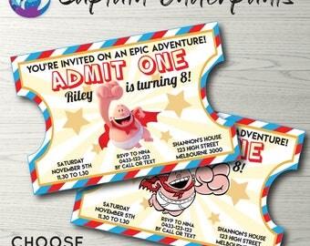Captain Underpants Invitation, Captain Underpants Invite, Captain Underpants Movie Ticket Invitation, Captain Underpants Birthday Party