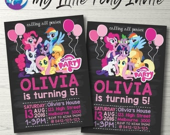 My Little Pony Invitation, My Little Pony Blackboard Invitation, My Little Pony Party Invitation, Rainbow Dash Invitation, Chalkboard Invite