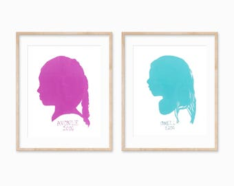 Painted Custom Silhouette Portrait of Children, Painting, Kids Room Nursery, Personalized Gift, Original Artwork, Customized Gift, Set of 2