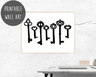 Vintage Keys Wall Art, Housewarming Gift, Foyer Posters and Prints, Digital Download Art, Black Skeleton Key Decor, Valentines Day Gift.