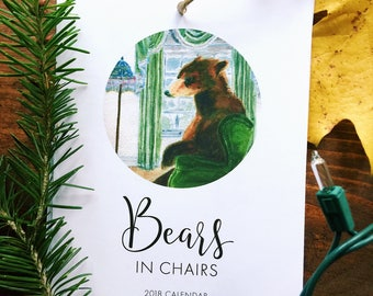 2018 Illustrated Bears in Chairs watercolor wall calendar (5x7)