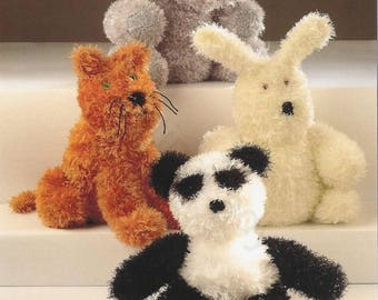 Knitted Toy Animals - Elephant, Rabbit, Cat and Panda. Knitted Pattern, Instant Download.