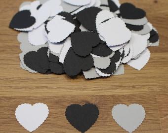 200, Love Heart, Table Confetti, Grey,Black,White, Wedding, Birthday, Romantic,Anniversary,Die Cut, Valentines, RIDGED