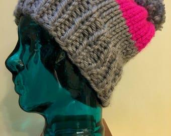 Color Block: handmade knit beanie