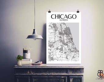 Chicago Print, Chicago, Chicago Poster, Chicago Art, Chicago Map, Chicago Illinois, Chicago Gift, Chicago Illinois Map Print, Chicago City