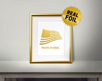 Made in USA, Real Gold Foil Print, American Flag, U.S.A Wave Flag, Gold Foil USA, America Wall Decor, Living Room, Office,