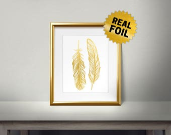 Feathers Wall Decor, Real Gold Foil Print, Gold Wall Art, Large Feather, Golden Bird, Framed Feather, Foil Feather, Shiny, Living Room Decor