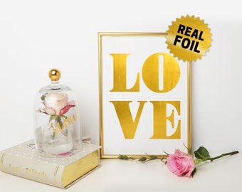 Real Gold Foil Print, Gold Love Wallart, Valentine Day, Home Decor, Decoration, Romantic Gift, Gift for Her, Gold Foil Print, Colors Variety