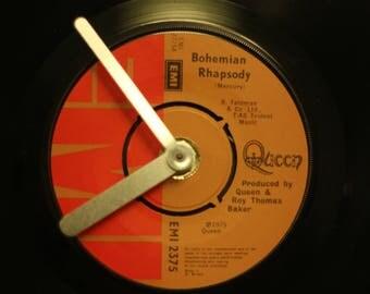 "Queen Bohemian Rhapsody 7"" vinyl record clock"