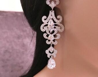 Silver CZ Bridal Earrings, Silver CZ Wedding Earrings, Cubic Zirconia Earrings, Chandelier Earrings, Bridal Jewelry, Dangle Earrings