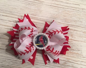 Baseball hair bow, Baseball hairbow, Baseball hair clip, Cardinals hair bow, Cardinals hairbow, St. Louis hair bow, St Louis Cardinals bow