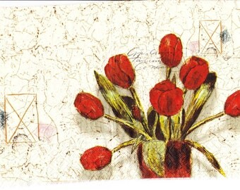 Paper napkin with tulips with Golden mottles decor