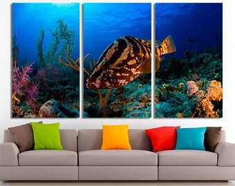 Delightful Ocean Photo, Fish Canvas, Ocean Canvas, Ocean Wall Art, Ocean Home Decor