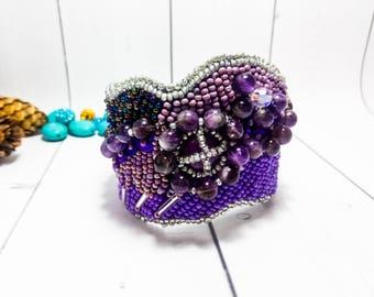 Amethyst Lilac Bracelet gift women Bead gift Beads Purple bead Beadwork Lilac jewelry gift Handmade Bead stone Amethyst cuff Holiday cuff