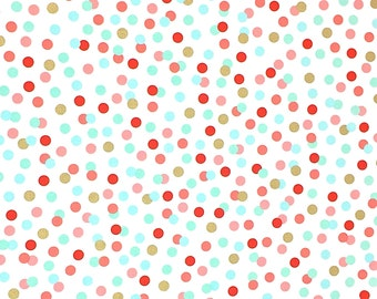 Dot Cotton Fabric,Fabric by the Yard, Gold Red Blue, Fabric by the Half Yard, Quilting Fabric, Apparel Fabric