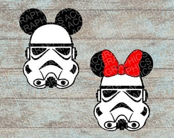 Mickey and Minnie Stormtrooper Mouse Heads SVG, DXF, JPEG, and Studio Downloads