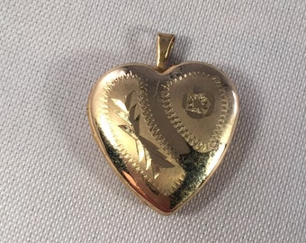 Vintage 14k Yellow Gold Filled GF Heart Locket Etched Floral Signed PPC