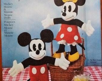 Walt Disney's Mickey Mouse & Minnie Mouse felt doll PATTERN, Simplicity #7635, Vintage