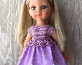 Clothes for Corolle Les Cheries, Paola Reina Doll Dress, Purple with hearts Crochet Doll Dress