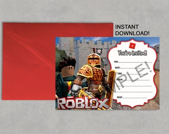 Roblox Inspired Printable Birthday Invitation DIY Blank Fill it in yourself INSTANT DOWNLOAD Jpeg Pdf No waiting! 5X7