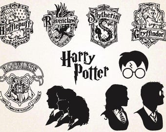 Harry Potter Silhouette Clipart/Harry Potter SVG,PNG 300 PPI,eps/Harry Potter head,scar,glasses/potter house crest/hogwarts
