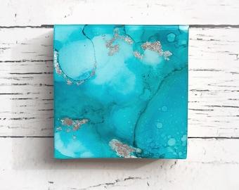 2017 Contemporary Art Christmas Ornament, Aquamarine, Blue, Silver Leaf, Emotive, Intuitive Painting