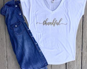 White & Gold Thankful Shirt